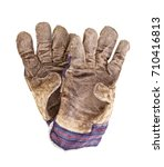 a pair of old working gloves... | Shutterstock . vector #710416813