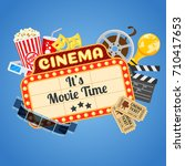 cinema and movie time concept... | Shutterstock . vector #710417653