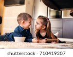 cute little girl with ponytails ... | Shutterstock . vector #710419207
