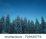 morning light over winter forest | Shutterstock . vector #710420773