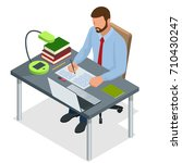 isometric young people and... | Shutterstock .eps vector #710430247