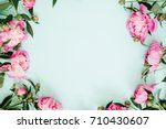 frame wreath of pink peony... | Shutterstock . vector #710430607