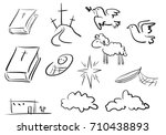 doodle christian icons. sketch... | Shutterstock .eps vector #710438893