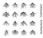 set of black roots. vector... | Shutterstock .eps vector #710442667