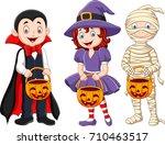 cartoon kids with halloween... | Shutterstock . vector #710463517