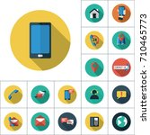 smatphone icon  flat set on... | Shutterstock .eps vector #710465773