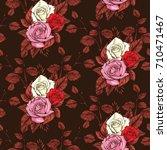 rose seamless pattern  vector...   Shutterstock .eps vector #710471467