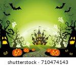 a happy halloween vector... | Shutterstock .eps vector #710474143