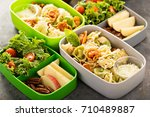 lunch boxes with food ready to... | Shutterstock . vector #710489887
