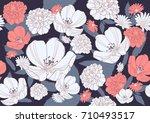 seamless floral pattern   Shutterstock .eps vector #710493517