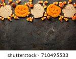 halloween pumpkin and ghosts... | Shutterstock . vector #710495533
