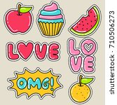 cute girly sticker patch design ... | Shutterstock .eps vector #710506273