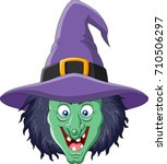 cartoon witch head isolated on... | Shutterstock .eps vector #710506297