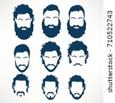 hipster vector set  hair and... | Shutterstock .eps vector #710522743