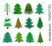 set of different doodle green... | Shutterstock .eps vector #710527753