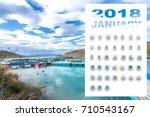 january 2018 calendar with... | Shutterstock . vector #710543167