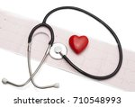 cardiogram with stethoscope and ... | Shutterstock . vector #710548993