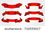 ribbon banner set.vector red... | Shutterstock .eps vector #710555017