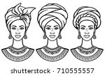 set of portraits  the african... | Shutterstock .eps vector #710555557
