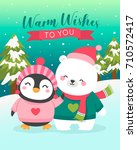 cute polar bear and penguin... | Shutterstock .eps vector #710572417