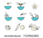 cooking hands. dough... | Shutterstock .eps vector #710582083