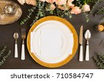 tableware   set of plates and... | Shutterstock . vector #710584747