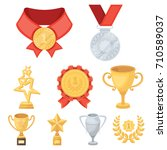 awards  gold medals and cups as ...   Shutterstock .eps vector #710589037