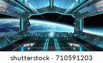 spaceship interior with view on ... | Shutterstock . vector #710591203