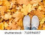 feet on the autumn yellow ... | Shutterstock . vector #710596057