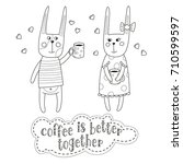 lovely bunnies are drinking... | Shutterstock .eps vector #710599597