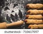 halloween sweets. witch fingers ... | Shutterstock . vector #710617057