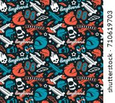 seamless pattern with image of... | Shutterstock .eps vector #710619703
