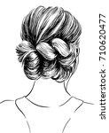 easy hairstyles for women | Shutterstock .eps vector #710620477