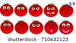tomato s faces with different... | Shutterstock .eps vector #710632123
