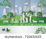 concept of eco with family...   Shutterstock .eps vector #710632633