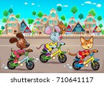funny pets are riding bikes in... | Shutterstock .eps vector #710641117