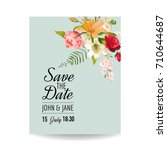save the date wedding card with ... | Shutterstock .eps vector #710644687