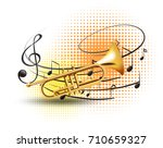 trumpet with music notes in...   Shutterstock .eps vector #710659327