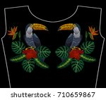 embroidery toucan with tropical ... | Shutterstock .eps vector #710659867