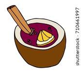 mulled wine with orange peel... | Shutterstock .eps vector #710661997