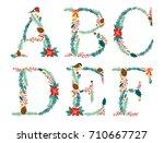 cute vintage hand drawn rustic... | Shutterstock .eps vector #710667727