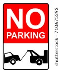 no parking sign with text and... | Shutterstock .eps vector #710675293