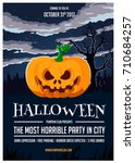 halloween party flyer with... | Shutterstock .eps vector #710684257