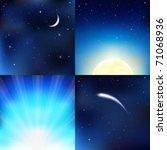 4 Dark Blue Sky  With Moon ...