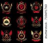 vector classy heraldic coat of... | Shutterstock .eps vector #710691763