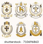 set of luxury heraldic vector... | Shutterstock .eps vector #710696863
