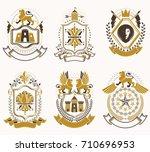 set of luxury heraldic vector... | Shutterstock .eps vector #710696953