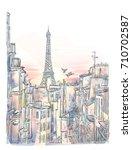 romantic sunrise dawn in paris. ... | Shutterstock .eps vector #710702587