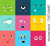 set of cartoon monsters faces... | Shutterstock .eps vector #710710687