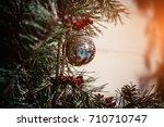 christmas fir tree  bow and... | Shutterstock . vector #710710747